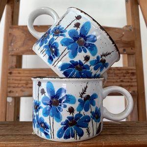 Pair Echinacea Coneflower Mugs Made in England
